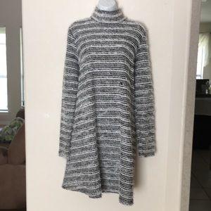 ASOS black and white fuzzy winter dress